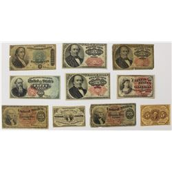 10 PIECE FRACTIONAL CURRENCY CIRCS
