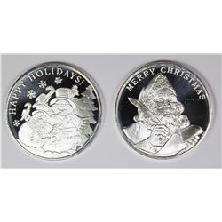 (2) DIFFERENT 2019 CHRISTMAS  SILVER ROUNDS