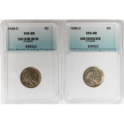 (2) 1938-D BUFFALO NICKEL