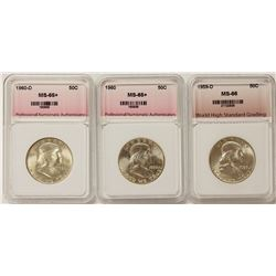 THREE SUPERB BU FRANKLIN HALF DOLLARS: