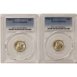 PCGS MERCURY DIME LOT: