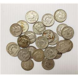 24 PCS. SILVER FRANKLIN HALF DOLLARS:
