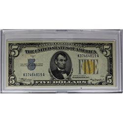 1934 A $5.00 NORTH AFRICA SILVER CERTIFICATE