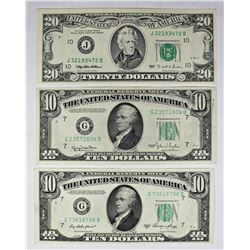 THREE PCS. FEDERAL RESERVE NOTES: