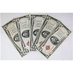 FIVE $5.00 U.S. NOTES