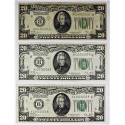 THREE PCS. 1928-A $20.00 FEDERAL RESERVE NOTES: