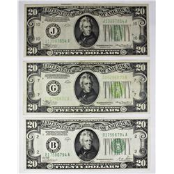 THREE PCS. $20.00 FEDERAL RESERVE NOTES: