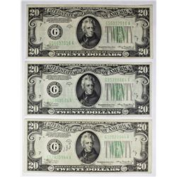 THREE PCS. 1934-A $20.00 FEDERAL RESERVE NOTES: