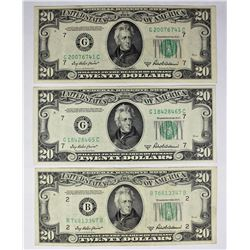 3 PCS. 1950-B $20.00 FEDERAL RESERVE NOTES: