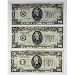 3 PCS. 1934-A $20.00 FEDERAL RESERVE NOTES CHICAGO