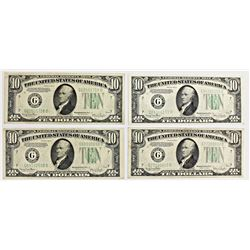 FOUR $10.00 FEDERAL RESERVE NOTES: 1934-D