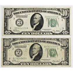 TWO 1928 $10.00 FEDERAL RESERVE NOTES