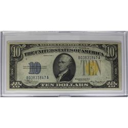 1934 A $10.00 NORTH AFRICA SILVER CERTIFICATE