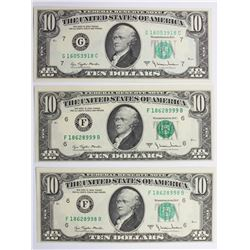 (3) PIECE FEDERAL RESERVE $10 NOTES