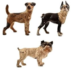 3 Cast Iron Dog Door Stops