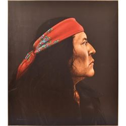 R.C. Gorman Portrait Oil Painting From His Estate