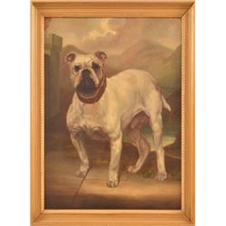 1887 Bulldog Oil Painting by F.P. Langley