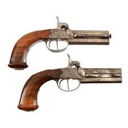 Matched Pair O/U Percussion Pistols