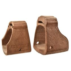Two Spanish Colonial Carved Wood Stirrups
