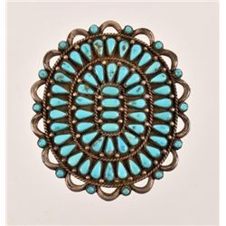 Sterling Silver Turquoise Broach Pendant