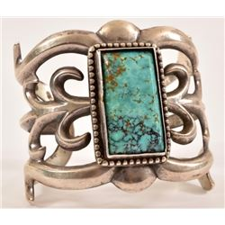 Navajo Sterling Silver Turquoise Cuff Bracelet