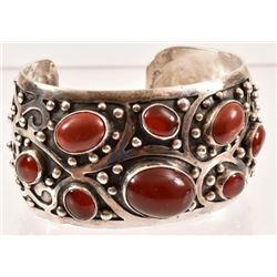 Sterling Silver Red Coral Cuff Bracelet