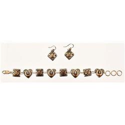 King Ranch Sterling & Gold Bracelet / Earring Set