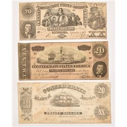 3 Confederate Civil War $20 Notes