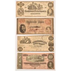 4 Confederate Civil War $10 Notes