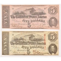 2 Confederate Civil War $5 Notes