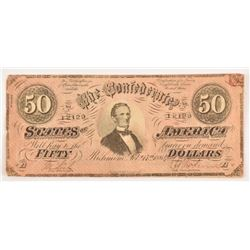 Confederate States Civil War $50 Bank Note