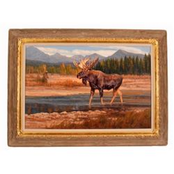 Julie Jeppsen Moose Oil Painting