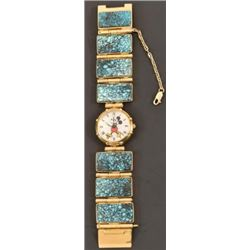 R.C Gorman's 18K Gold Turquoise Mickey Mouse Watch