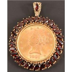 1901 Gold $10 Coin Bezel