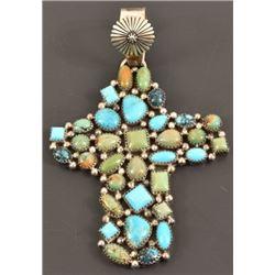 Running Bear Sterling Turquoise Cross Pendant