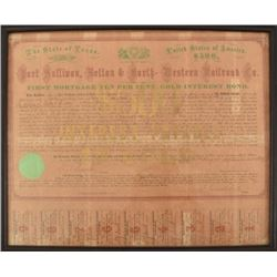 1874 Galveston Railroad $500 Gold Bond
