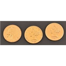 Three 5 Dollar Gold Coins 1880, 1882, 1914
