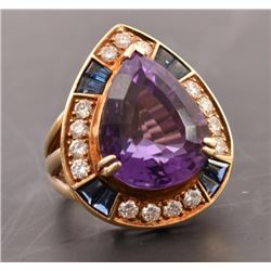 14kt Yellow Gold Ladies Diamond & Amethyst Ring