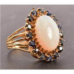 Opal & Blue Sapphire 14K Gold Ring