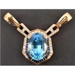 56 Carat Topaz Diamond & Sapphire Pendant