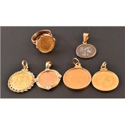 4 Gold Coin Pendants & Ring