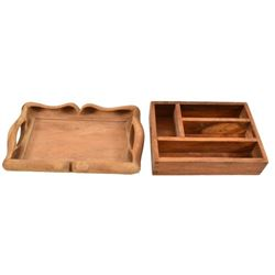 2 Antique Wooden Utensil Trays