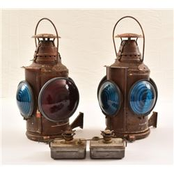Large Antique Railroad Lanterns (Pair)