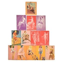 Collection of 13 Vintage Pinup Cards
