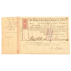 1871 Houston & Great Northern RR Stock Certificate