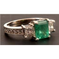 14K White Gold Diamond & Emerald Ring