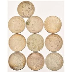 (10) U.S. Peace Silver Dollars