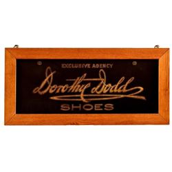 Dorothy Dodd Shoes Reversed Glass Sign