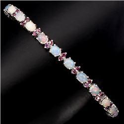 Natural Opal Rhodolite Garnet 60.86 Cts  Bracelet