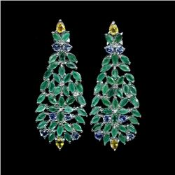 Natural Emerald Sapphire Tanzanite Earrings